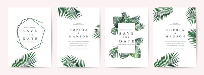 Wedding invitation,Thank You Card, rsvp, posters design collection with marble texture background,Geometric Shape,Gold and Tropical Leaves design - Vector