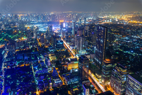 High view with lighting of Bangkok city in night time Canvas Print