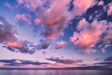 Beautiful Sunset Clouds Over Lake Horizon