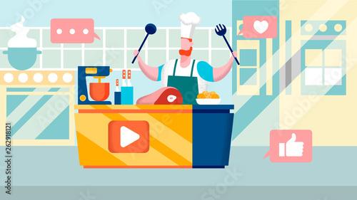 Fotografía  Culinary Internet Channel Flat Vector Illustration
