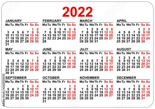 2022 Pocket Calendar Printable.Office Pocket Calendar 2022 Year Template Horizontal Orientation Stock Vector Adobe Stock