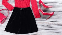 Dark Skirt And Red Top.