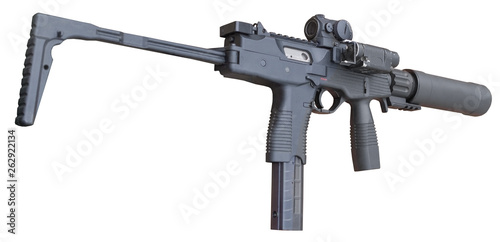 Photo  submachine gun with silencer isolated on a white