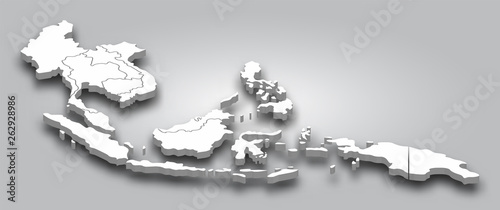 Foto 3D map Southeast asia with perspective view on gray color gradient background