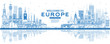 Outline Welcome to Europe Skyline with Blue Buildings.