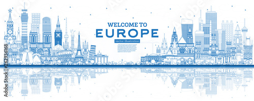 Obraz Outline Welcome to Europe Skyline with Blue Buildings. - fototapety do salonu