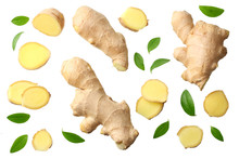 Sliced Ginger With Leaves Isol...