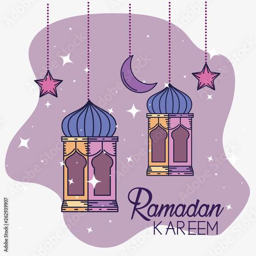 Fotografia ramadan kareem decoration with lamps and moon