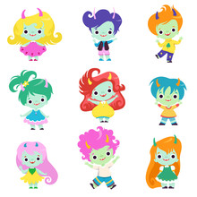 Cute Happy Smiling Horned Trolls Boys And Girls Set, Adorable Fantasy Creatures Characters With Colored Hair Vector Illustration