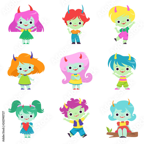 Deurstickers Cute Horned Trolls Boys and Girls Set, Adorable Smiling Fantasy Creatures Characters with Colored Hair Vector Illustration