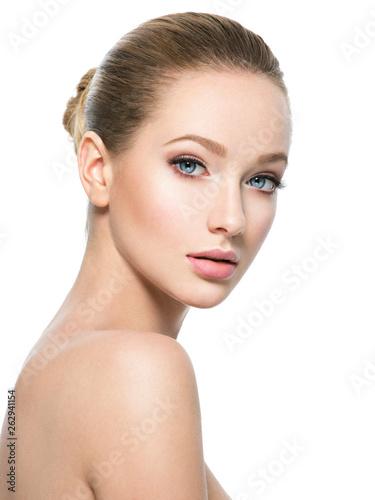 Valokuvatapetti Beautiful face of young woman with perfect health fresh skin
