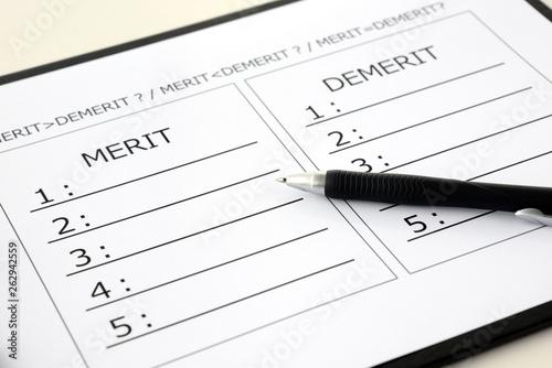 Fototapeta メリットとデメリットの比較表 obraz
