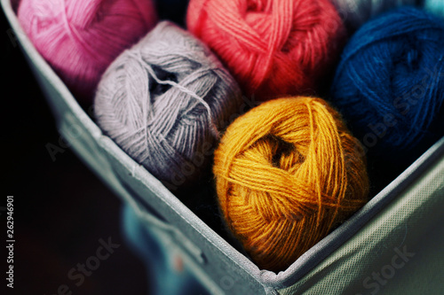 a lot of angora yarn, a variety of colors Canvas Print