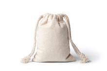 Empty Linen Bag Isolated On Wh...