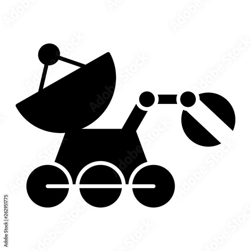 Mars rover solid icon  Space technology vector illustration