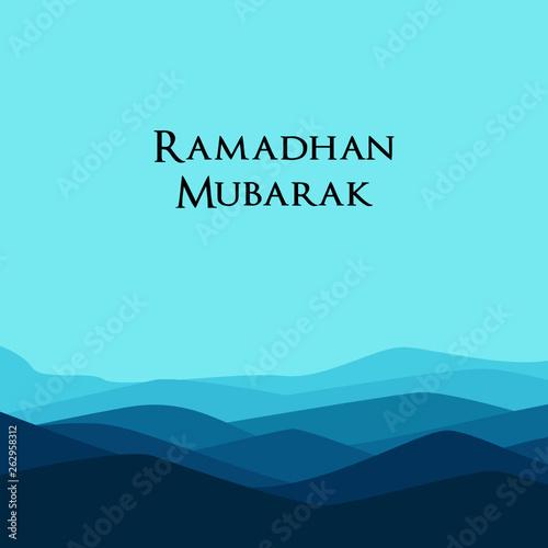 Poster Turquoise Ramadan mubarak beautiful greeting card, template for menu, invitation, poster, banner, card for the celebration of Muslim community festival - Vector