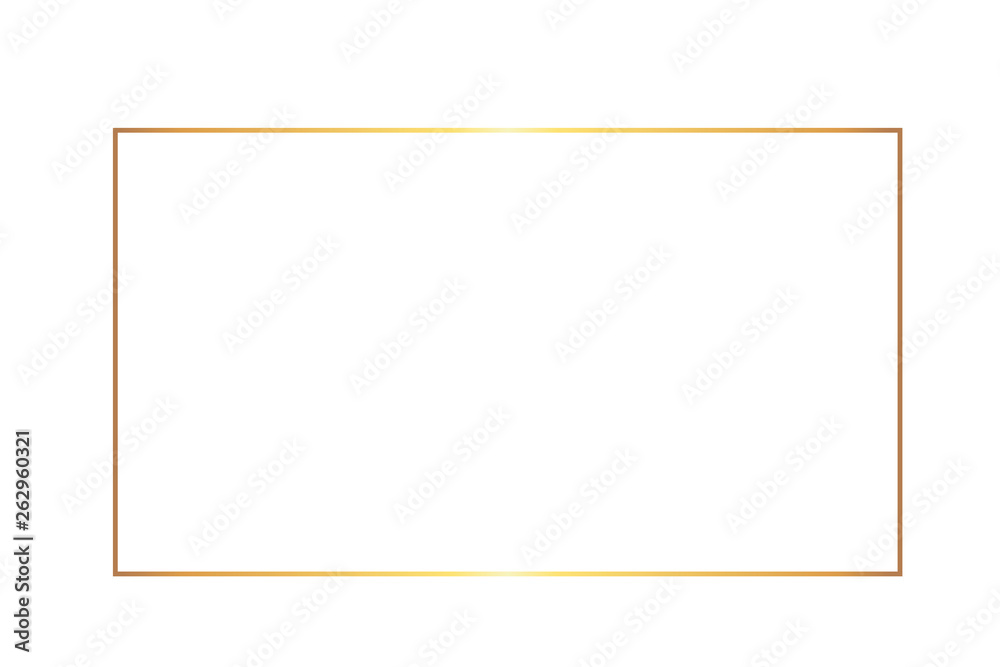 Fototapety, obrazy: Golden thin rectangular frame on the white background