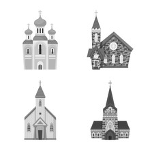 Vector Design Of Architecture And Faith Symbol. Collection Of Architecture And Traditional Stock Symbol For Web.