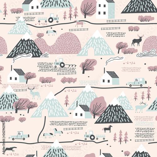 bezszwowy-kolorowy-wzor-z-domem-drzewami-koniami-gorami-i-wzgorzami-idealny-do-tkanin-dzieciecych-tekstylnych-tapet-dzieciecych