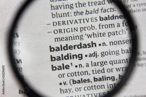 The word or phrase balderdash in a dictionary. Wallpaper Mural