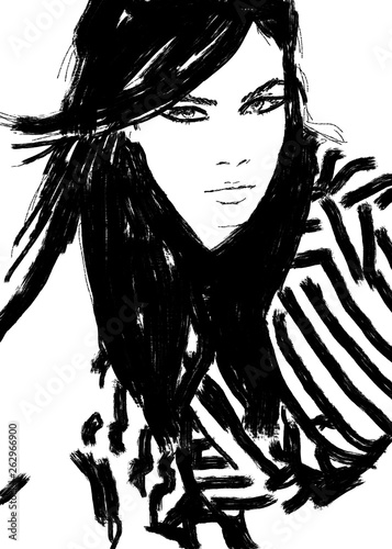 Foto op Plexiglas Art Studio Sketch fashion.Abstract. simple. black and white. line drawing. beautiful. runway model. Haute couture. Ready to wear. Fashion illustration. cute girl or woman. with smokey eyes. Fashion magazine. art