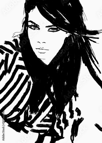 Foto op Plexiglas Art Studio Sketch fashion.Abstract simple black and white line drawing of beautiful runway model. Haute couture, Ready to wear. Fashion illustration of cute girl or woman with smokey eyes. Fashion magazine art