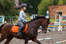 Young Girl Riding Bay Horse On Equestrian Sport Training