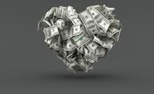 Dollar Currency In Heart Shape