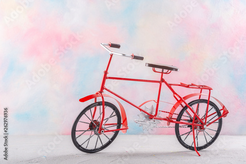 Aluminium Prints Bicycle Vintage bicycle on a colored background.
