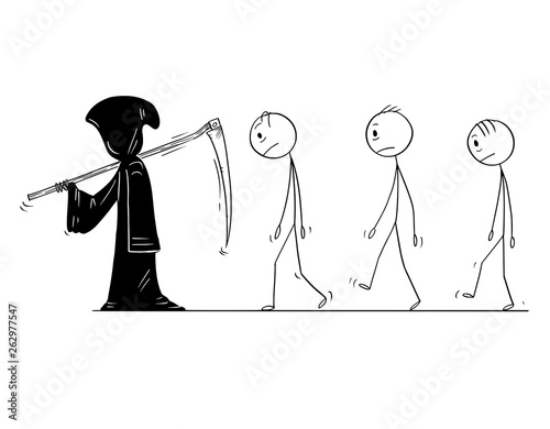 Fotomural Cartoon stick figure drawing conceptual illustration of grim reaper with scythe and in black hood and group of dead men or people following him