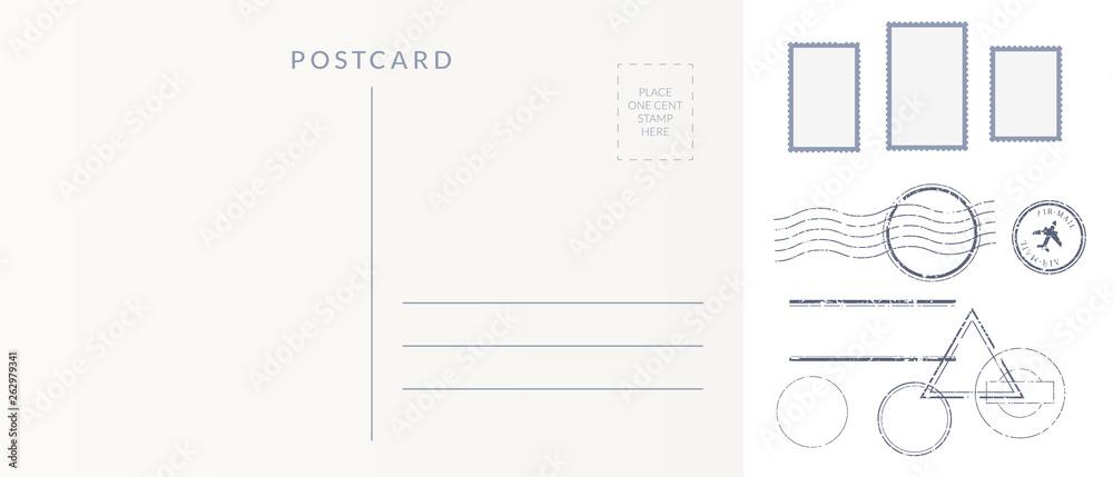 Fototapeta Postal elements set: empty postcard back, postage stamps and cancel marks imprints.