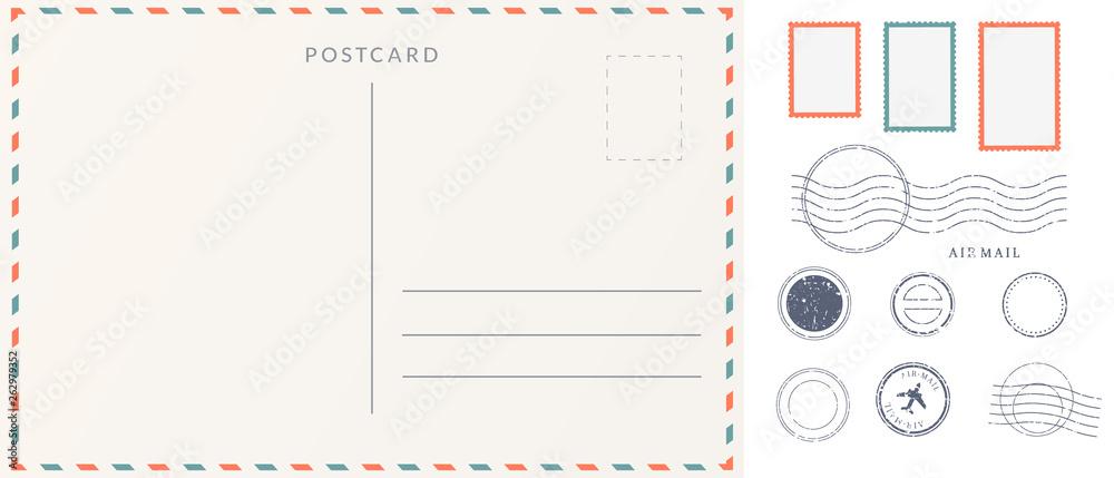 Fototapeta Elements for empty postcard back. Postage stamps and imprints. Travel card design set.
