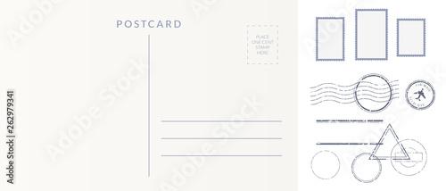 Obraz na plátně Postal elements set: empty postcard back, postage stamps and cancel marks imprints