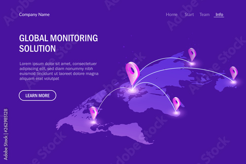 Fototapeta Global monitoring system. Global communications. Virtual world map. Modern vector illustration isometric style. obraz