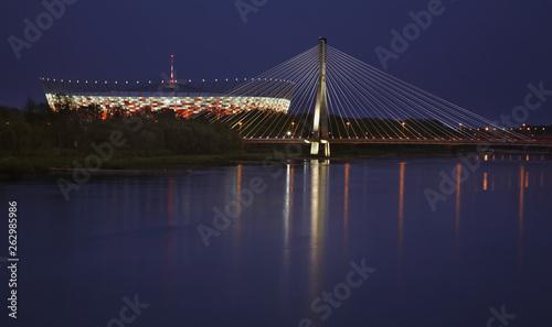 Fototapeta Swietokrzyski bridge and National stadium in Warsaw. Poland obraz