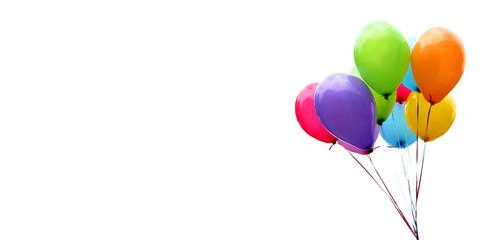 Šareni baloni izolirani na bijeloj, natpis, zaglavlje, naslov, panorama, preslikajte prostor