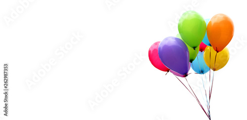 Fotografie, Obraz Colorful balloons isolated on white, banner, header, headline, panorama, copy sp