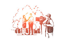Female Journalist Broadcasting Live, Female Interviewer Talking To Man, Filming Crew