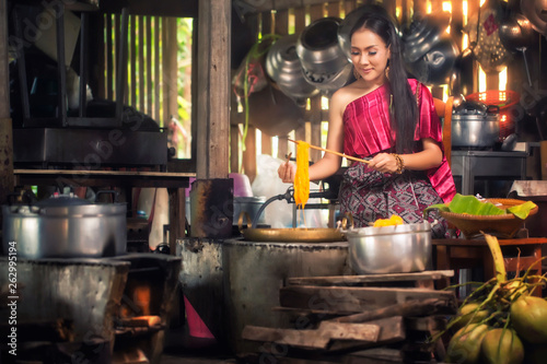 Beautiful woman cooking , Thai culture style