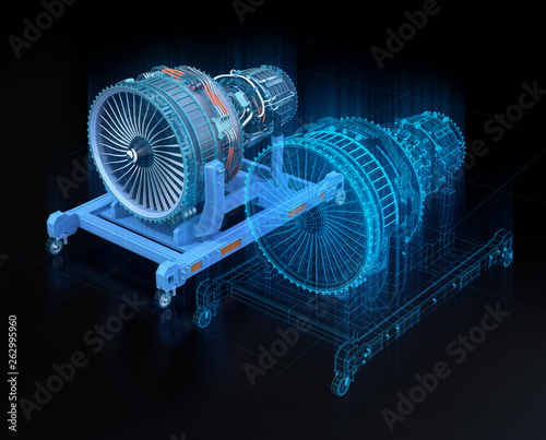 Wireframe rendering of turbojet engine and mirrored physical body on black background. Digital twin concept. 3D rendering image. Wall mural