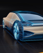 Wireframe Rendering Of Autonomous Electric Car On Black Background. Digital Twin Concept.  3D Rendering Image.