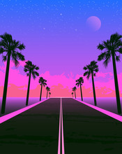 Synthwave Poster With Dream Road And Palms. Pink Sunset.