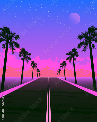 Tela  Synthwave poster with dream road and palms. Pink sunset.
