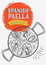 Spanish Food Illustration - Paella For Restaurant.
