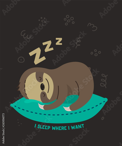 Cute lazy little sloth sleeping on a pillow Canvas-taulu