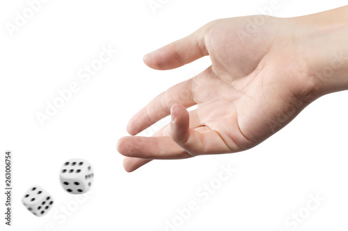 The dice game: hand throwing game cubes, isolated on white background Fototapeta