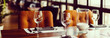 canvas print picture - Empty glasses set in restaurant