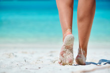 Woman Walking On Tropical Whit...
