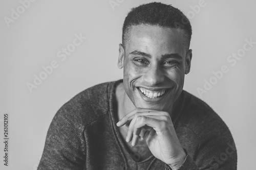 Valokuvatapetti Fashion portrait of Attractive african american male model posing happy and sexy