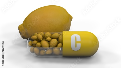 Photo 3D rendering of lemon and vitamin C capsules, isolated on white background